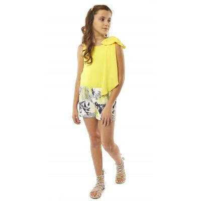 Ολόσωμη κίτρινη-εμπριμέ φόρμα-σορτς (Μεγέθη: 14)