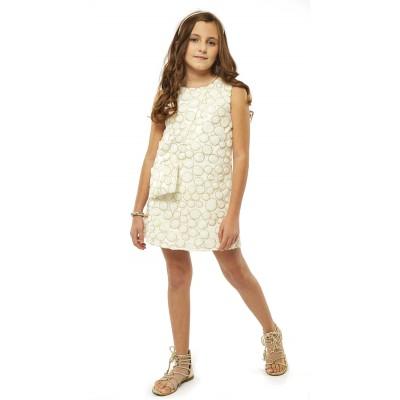 Φόρεμα λευκό με σχέδιο χρυσούς κύκλους (Μεγέθη: 10,12,14)