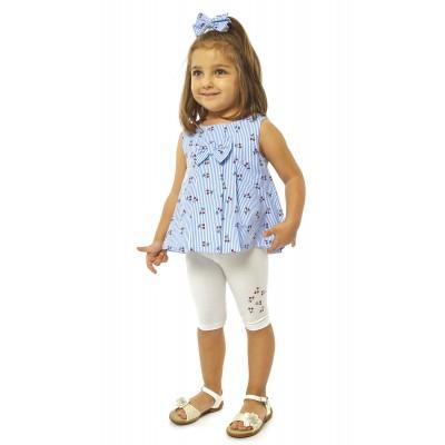 Σετ μπλουζοφόρεμα ριγέ, κολάν & κορδέλα (Μεγέθη: 6Μ)