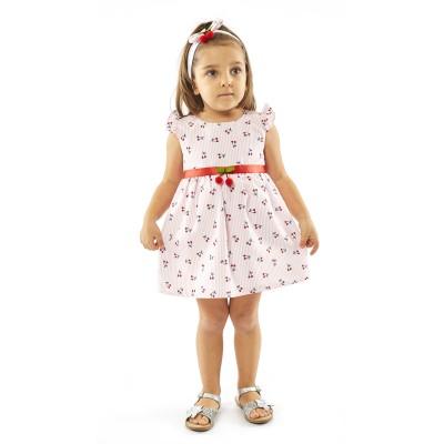 Φόρεμα ριγέ & κορδέλα/Κερασάκια (Μεγέθη: 9Μ,12Μ)