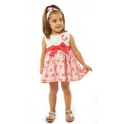 Φόρεμα & δώρο ασορτί κορδέλα/Κερασάκια (Μεγέθη: 9Μ,18Μ)
