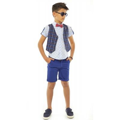 Σετ 4 τεμ. πουκάμισο,βερμούδα, γιλέκο & παπιγιόν (Μεγέθη: 10)