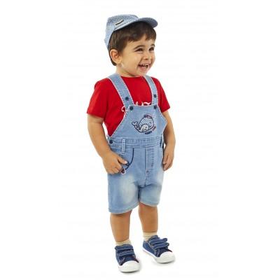 Σετ σαλοπέτα, μπλουζάκι & καπελάκι (Μεγέθη: 12Μ)