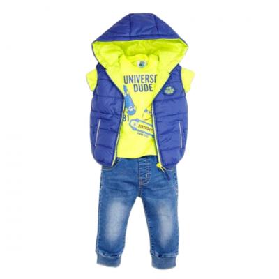 Σετ 3 τεμ. μπλούζα, παντελόνι & αμάνικο μπουφάν (Μεγέθη: 3Μ,6Μ,18Μ)