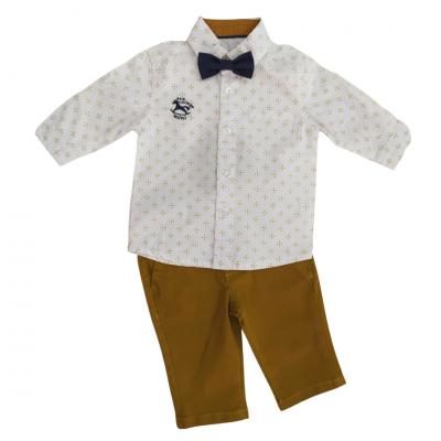 Σετ πουκάμισο με παπιγιόν & μουσταρδί παντελόνι (Μεγέθη: 3Μ,6Μ,18Μ)