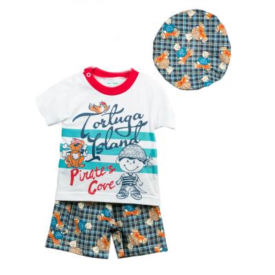 Σετ μπλούζα και πολύχρωμη βερμούδα/αρκουδάκια και μπερέ (Μεγέθη: 3-6Μ)