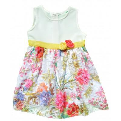Φόρεμα εκρού/εμπριμέ και λουλούδια στη ζώνη (Μεγέθη:4,5)