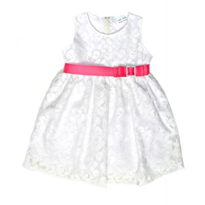 Φόρεμα δαντέλα και φούξια ζώνη (Μεγέθη: 4)