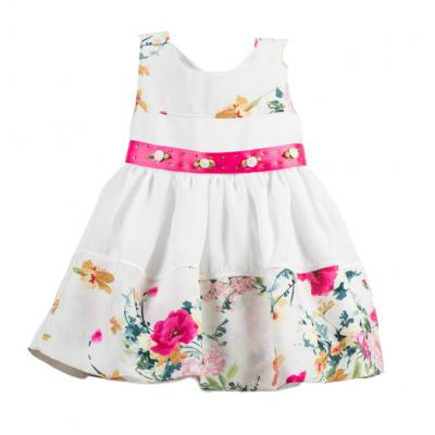 Φόρεμα εμπριμέ/εκρού (Μεγέθη: 4,5)