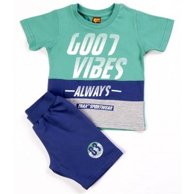 Σετ μπλούζα & βερμούδα/Good vibes (Μεγέθη: 4,6)