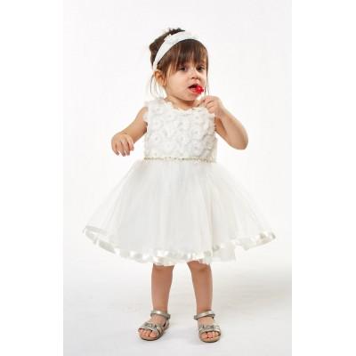 Λευκό φόρεμα τούλινο (Μεγέθη: 6Μ,9Μ,12Μ)