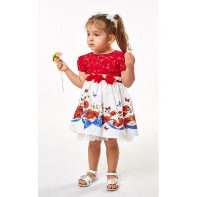 Φόρεμα κόκκινο/εμπριμέ (Μεγέθη: 6Μ,9Μ,18Μ)