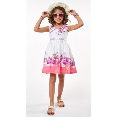 Φόρεμα εμπριμέ ροζ-μωβ με καπέλο (Μεγέθη:1,2,3,4,5,6)