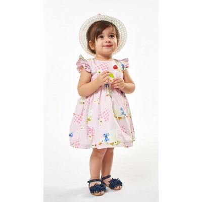 Εμπριμέ φόρεμα & ψάθινο καπέλο (Μεγέθη: 9Μ,18Μ)