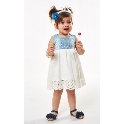 Φόρεμα τζιν/κιπούρ (Μεγέθη: 6Μ,12Μ,18Μ)