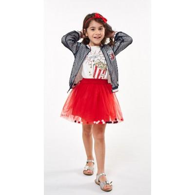 Σετ 3 τεμ./μπουφάν διχτυωτό,μπλούζα & τούλινη φούστα (Μεγέθη: 3,4,5,6)