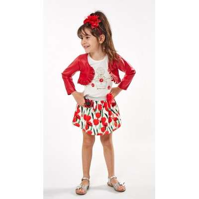 Σετ 3 τεμ./κόκκινο μπολερό,μπλούζα,φούστα (Μεγέθη: 1,2,3,4,5)