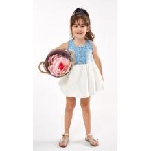 Φόρεμα τζιν-λευκό (Μεγέθη:1,2,3,4,5,6)