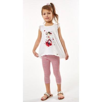 Σετ μπλουζοφόρεμα & ριγέ κολάν (Μεγέθη: 1,2,3,4,6)