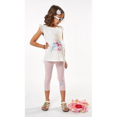 Σετ μπλουζοφόρεμα & ριγέ κολάν (Μεγέθη: 1,2,3,4,5,6)