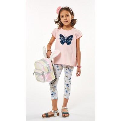 Σετ μπλουζοφόρεμα με πούλιες & κολάν/Πεταλούδες (Μεγέθη: 1)
