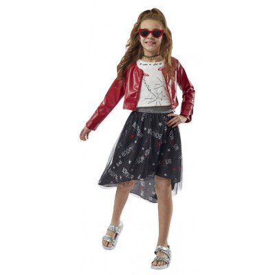 Σετ 3 τεμ. μπλούζα ,φούστα & κόκκινο τζάκετ (Μεγέθη: 8)
