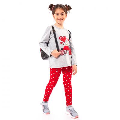 Σετ μπλούζα & κολάν με καρδούλες (Μεγέθη: 1,2,3,4,5,6)