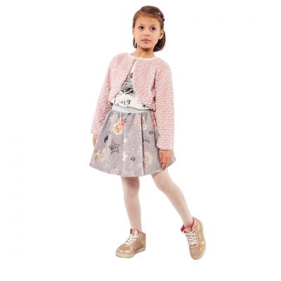 Σετ 3 τμχ με φούστα, μπλουζάκι & ροζ μπολερό (Μεγέθη: 3,4,5)
