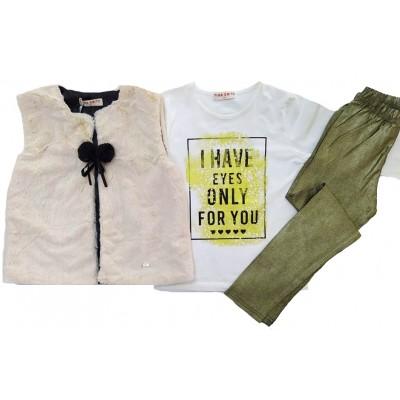 Σετ μπλούζα,κολάν & αμάνικο γουνάκι (Μεγέθη: 6,8,10,12,14,16)