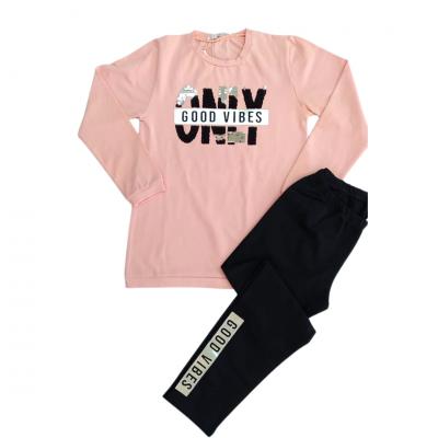 Σετ μπλούζα & κολάν/Only good vibes (Μεγέθη: 6,8,10,12,14)