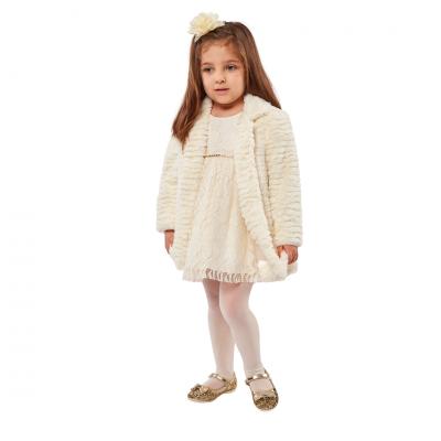 Σετ φόρεμα & παλτό γούνινο (Μεγέθη: 6Μ,9Μ,12Μ,18Μ)