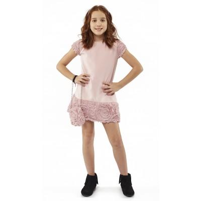 Φόρεμα ροζ με τσάντα (Μεγέθη: 8,10,12,14,16)