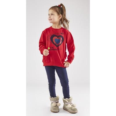 Σετ μπλούζα με καρδούλα-πούλιες &κολάν (Μεγέθη: 1,2,4,5)