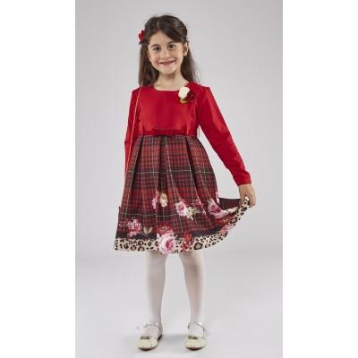 Φόρεμα κόκκινο-καρό (Μεγέθη: 1,2,3,4,5,6)