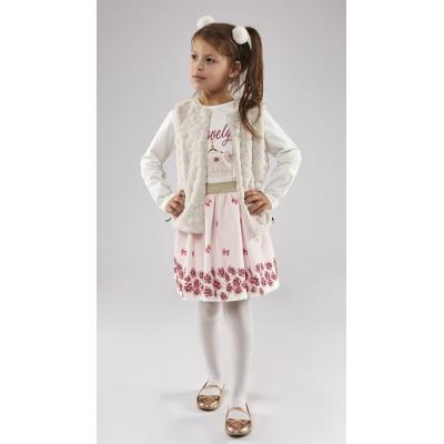 Σετ 3 τμχ. (φούστα,μπλούζα & γούνινο αμάνικο γιλέκο) (Μεγέθη: 1,2,4,5,6)