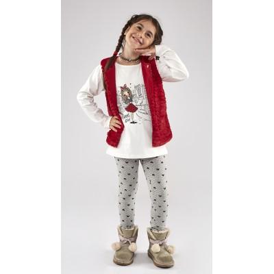 Σετ 3 τμχ. με γιλέκο γουνάκι/Sweet Girl (Μεγέθη: 1,2,3,4,5,6)