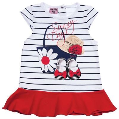 Φόρεμα κόκκινο/ριγέ (Μεγέθη: 24Μ)