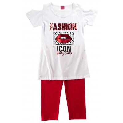 Μπλουζοφόρεμα & κολάν κάπρι/FASHION ICON (Μεγέθη: 6,8,12,14)