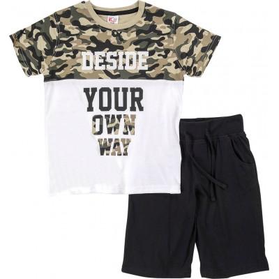 Σετ μπλούζα παραλλαγή & βερμούδα (Μεγέθη: 6)