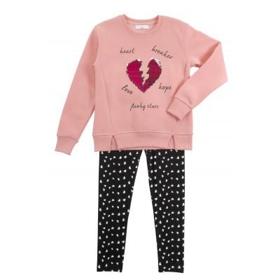Σετ μπλουζοφόρεμα & κολάν/Heart breaker (Μεγέθη: 6,8,10,12,14,16)